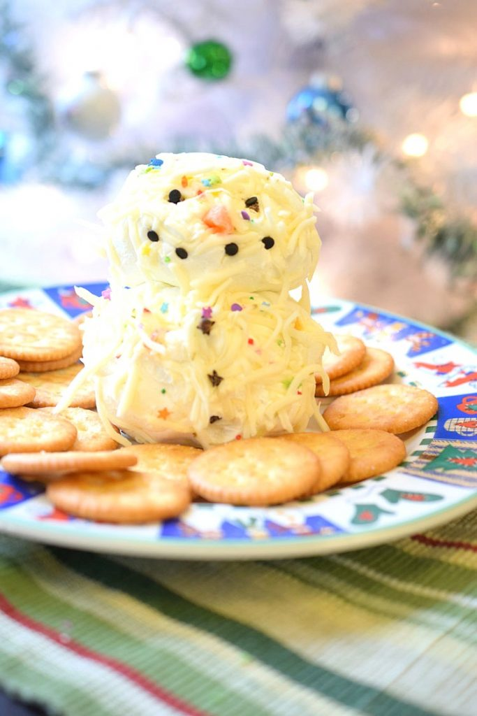 recipe for holiday snowman cheese ball platter