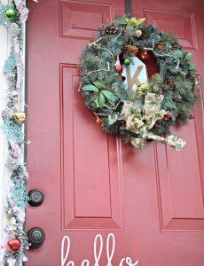 decorated Christmas front door