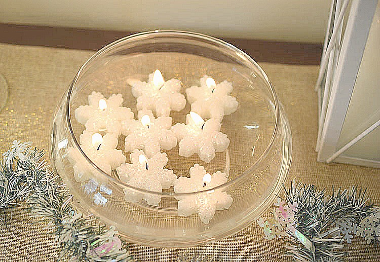 floating snowflake candles