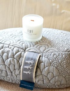 meditative pillow and soy candle