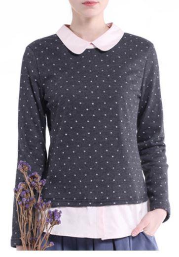 polka dot sweater with a peter pan colar