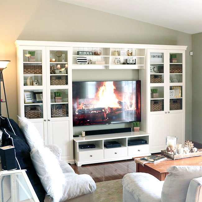 how to decorate a space around a TV