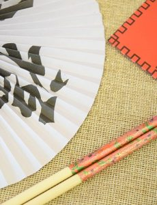 Chinese fans, red envelope and chopsticks from Oriental Trading