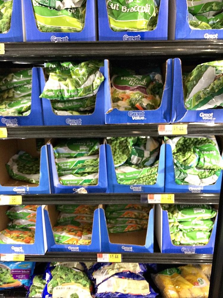 Great Value frozen vegetables at Walmart