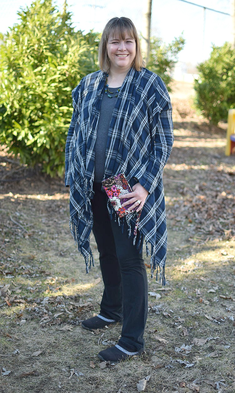 Fringed flannel shawl with black yoga pants and mules