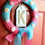 Pink and Blue Burlap Pinwheel Wreath