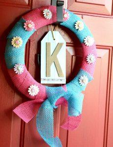 pink and blue burlap pinwheel wreath