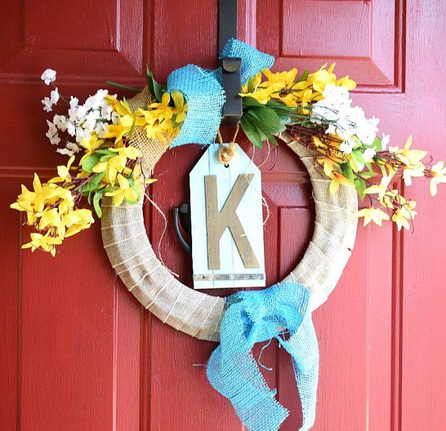 spring forsythia dollar store wreath