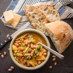Italian Bean Pancetta Cabbage Soup