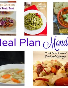 Meal Plan Monday -- five recipes for great weeknight meals. Corned beef cabbage, chicken enchilada soup, chicken dumpling soup, spinach and basil pesto and maple glazed chicken and sweet potato tacos