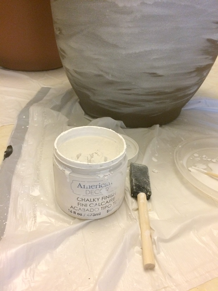 how to white wash terra cotta pots