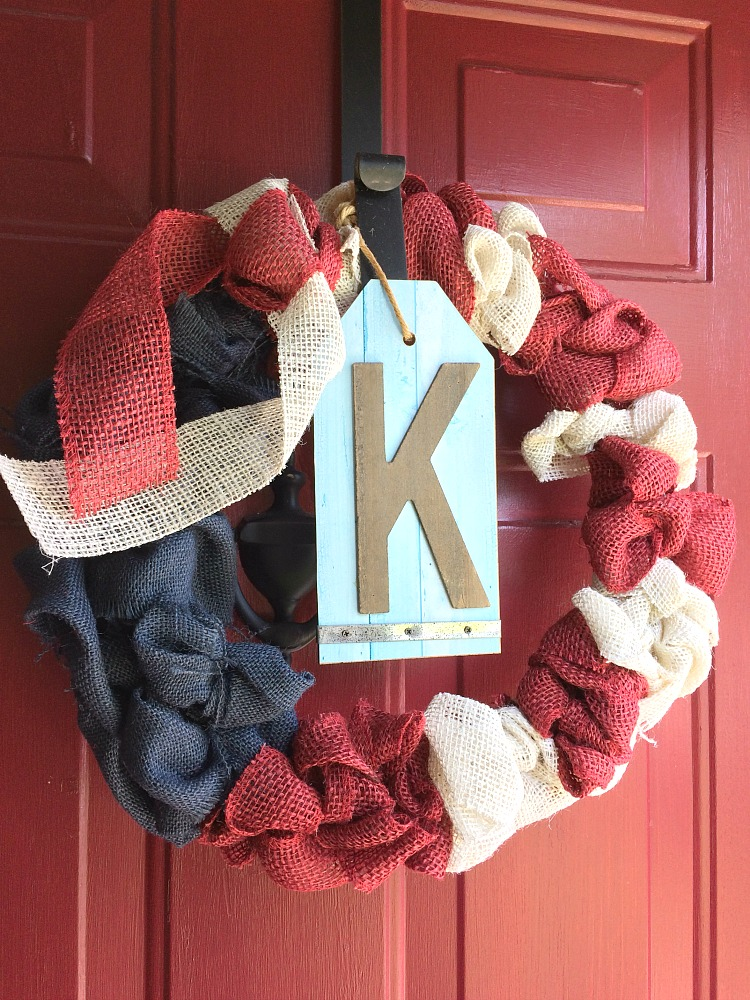 patriotic red, white and blue burlap bubble wreath