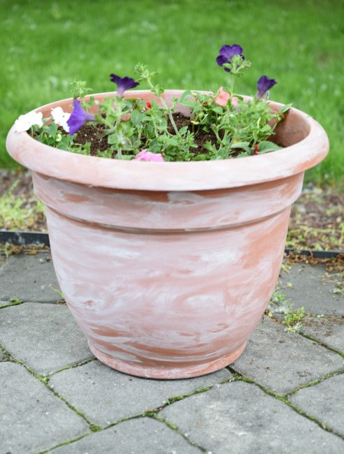 diy white washed plastic flower pot on a gray paver patio