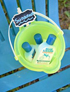 bucket for keeping Blue Lizard sunscreen handy while enjoying the sun in the backyard