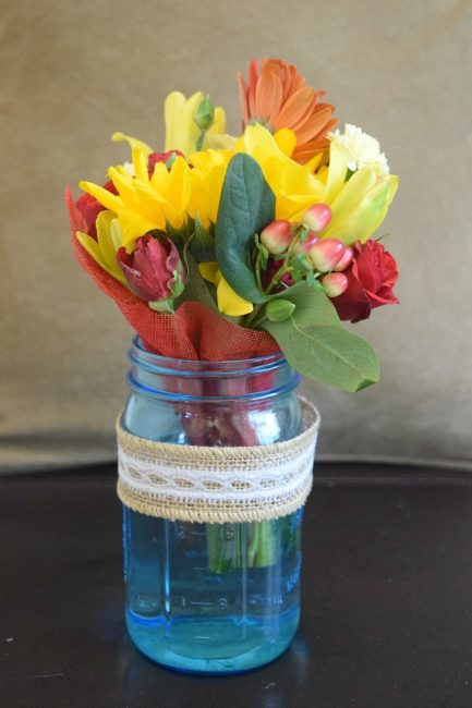 DIY mason jar teacher appreciation bouquet gift