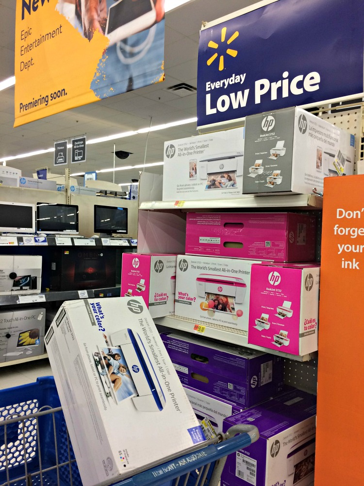 The HP 3722 printer, which prints wirelessly in full color, is available at Walmart