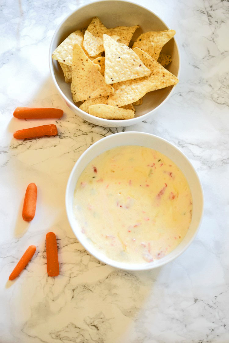 Easy white queso recipe, for serving with tortilla chips or carrot sticks