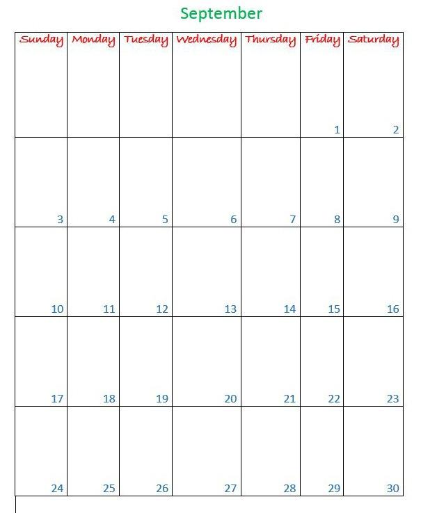September 2017 free printable calendar page
