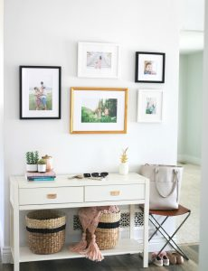 I love this stylish entryway and mud room area by Sandy a La Mode