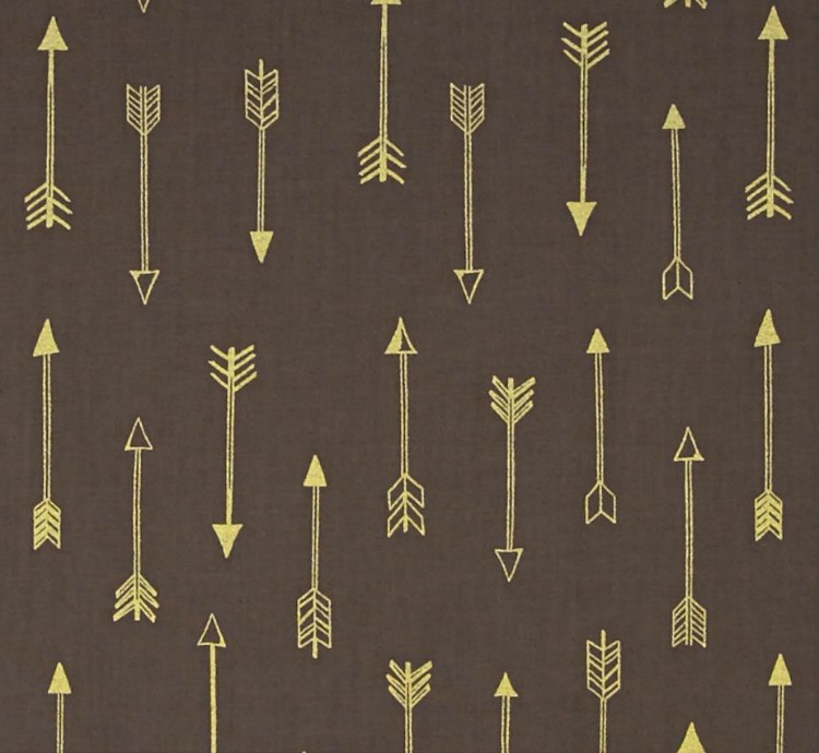 Black metallic print arrow fabric