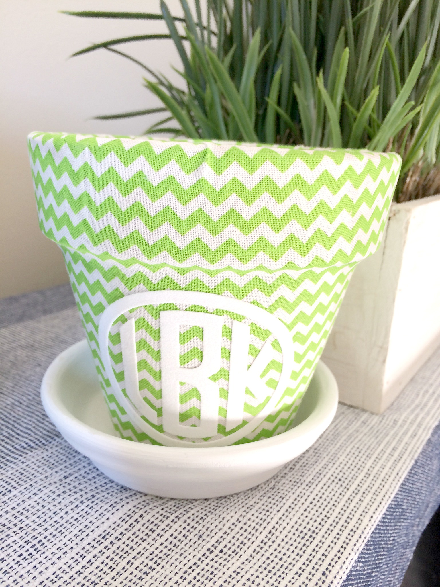 Fabric covered monogrammed pot