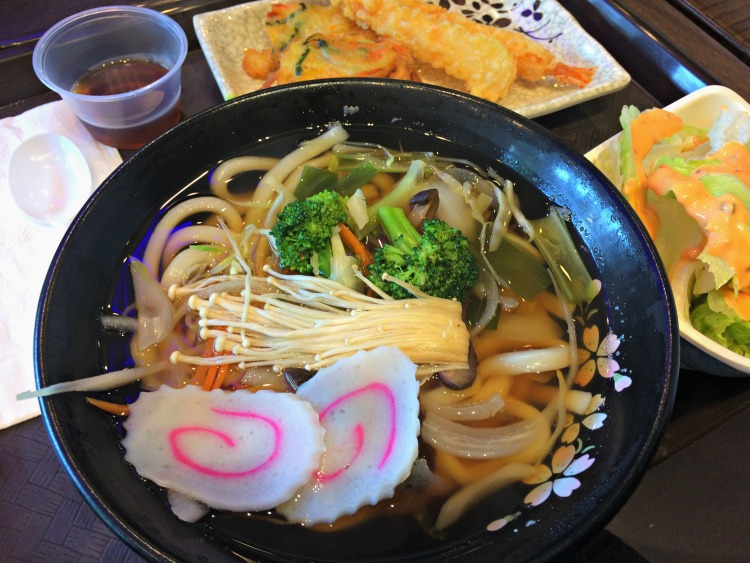 udon noodle soup with shrimp tempura