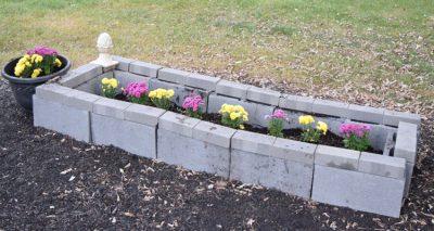 easy front yard cinder block planting bed