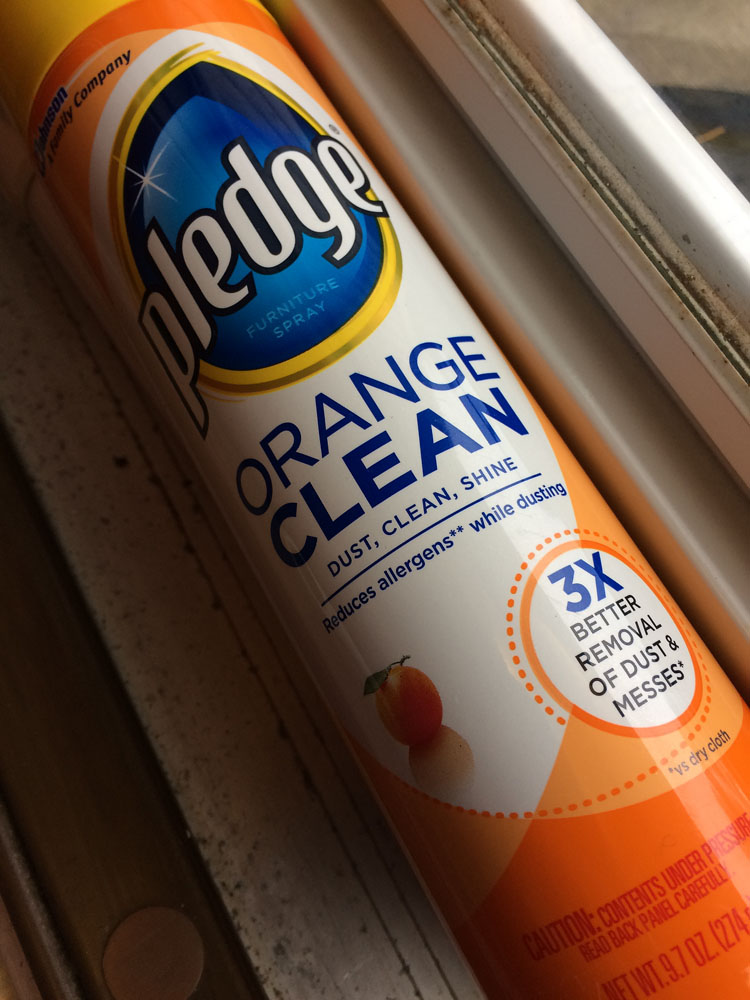 Pledge is quite good for cleaning storm doors and the interiors of door frames.