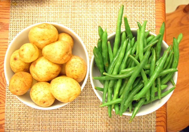 fresh potatoes and green beans
