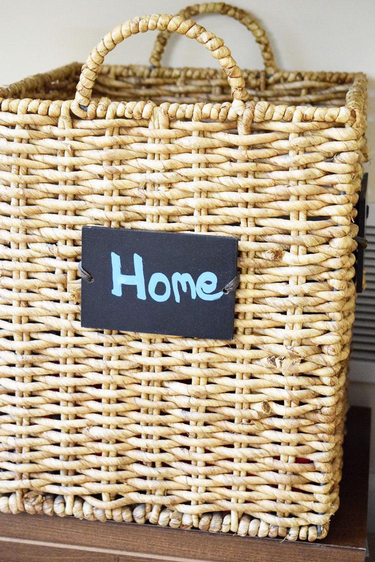 chalkboard label wicker basket