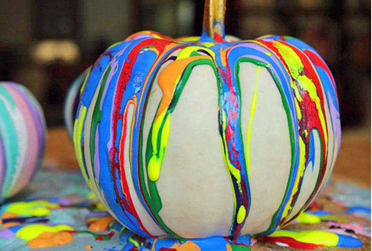 paint drip pumpkins by Bebe and Bear