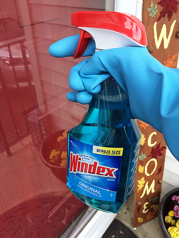 cleaning a front storm door with Windex