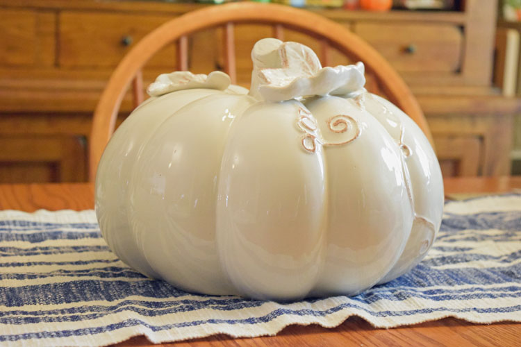 ceramic white pumpkin from Oriental Trading