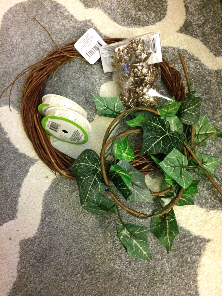 Supplies for an ivy and lace boho wreath for the winter and Christmas holidays
