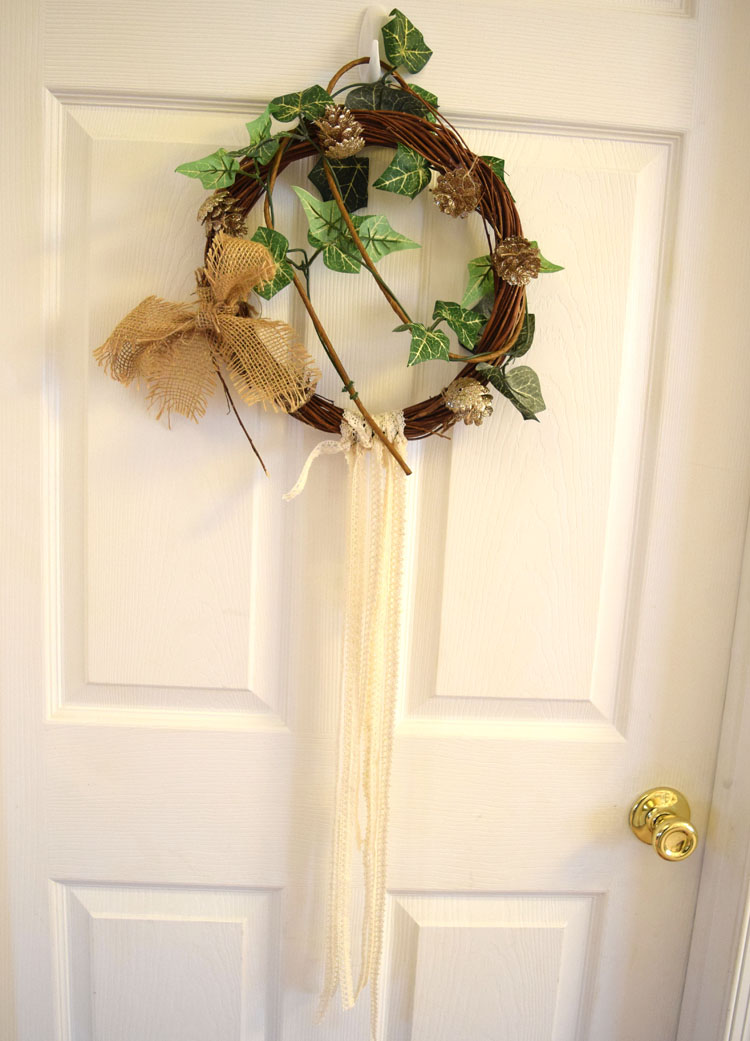 lace and ivy boho christmas grapevine wreath