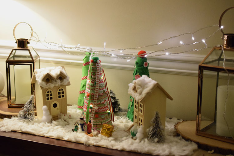 DIY Christmas village with string lights