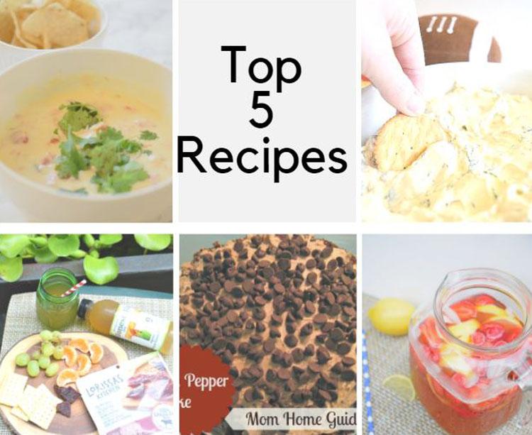 top 5 recipes - cake, dip, lemonade, cheese appetizer plate