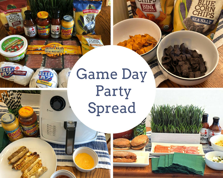 These appetizers, fresh cheeses and meats make for a delicious food party spread for the big football game