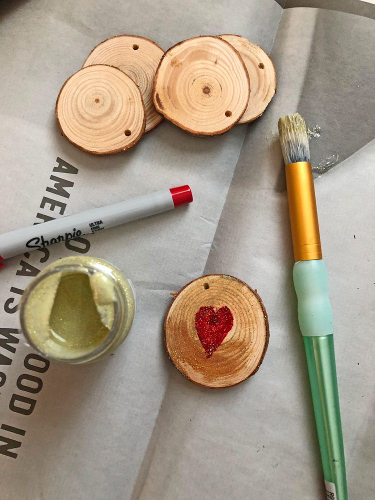 painted mini wood rounds for Valentine's Day