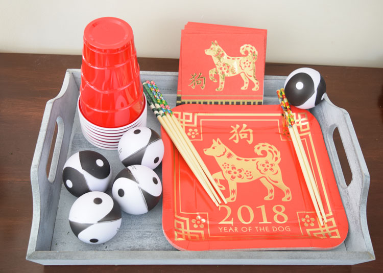 Gray tray and Chinese New Year of the Dog party supplies from Oriental Trading