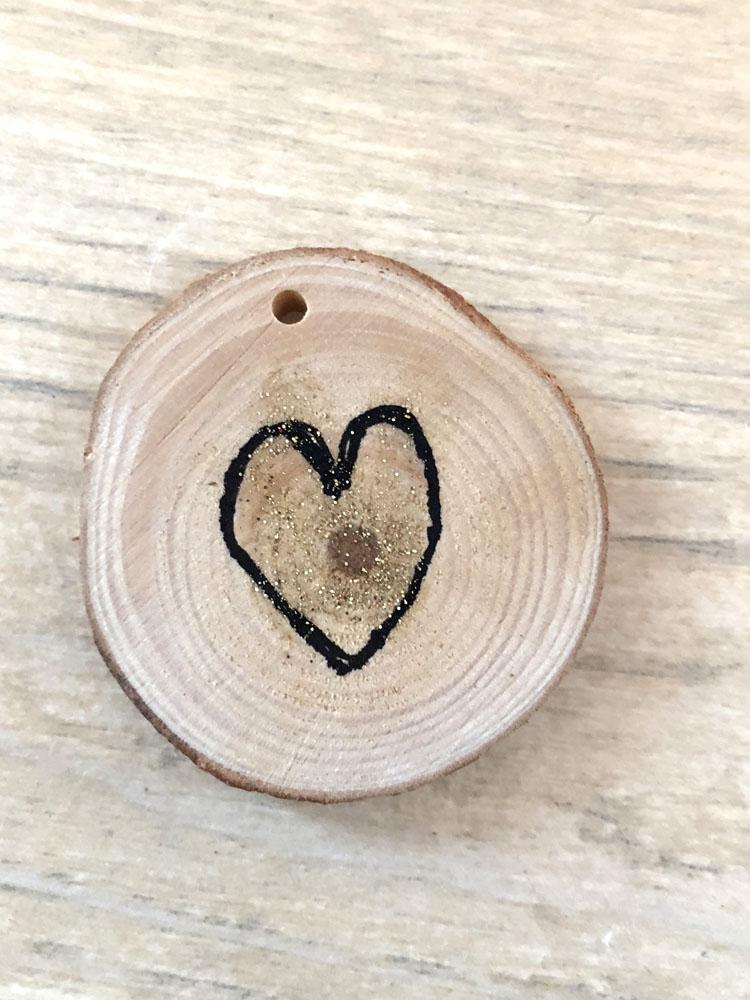 Wood slice Valentine's Day heart token