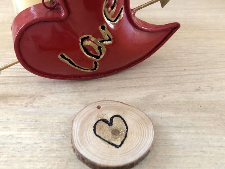 DIY wood slice heart token for Valentine's Day