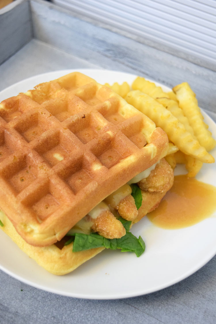 Fun breakfast for dinner idea -- chicken and waffle sandwiches with pepperjack cheese and a homemade maple honey mustard sauce
