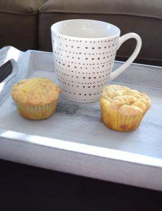 lemon crumb muffins with a mug of hot Folgers coffee
