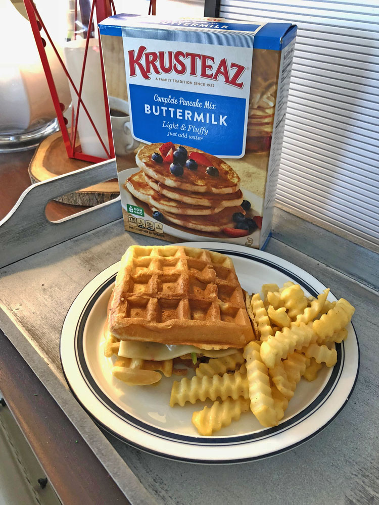 chicken and waffle sandwich made with Krusteaz Belgian waffle mix #krusteaz @krusteaz #ad