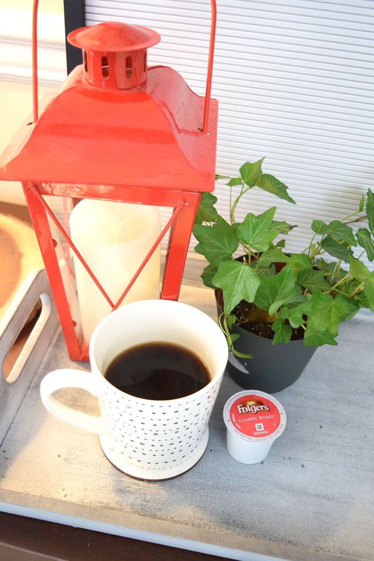 morning coffee with Folgers K cups