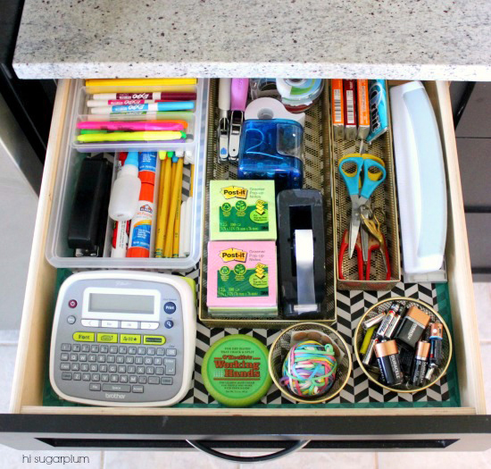 an organized junk drawer by Jen of Iheart Organizing
