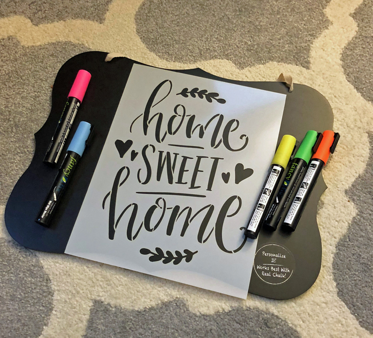 supplies for stenciling a home sweet home sign