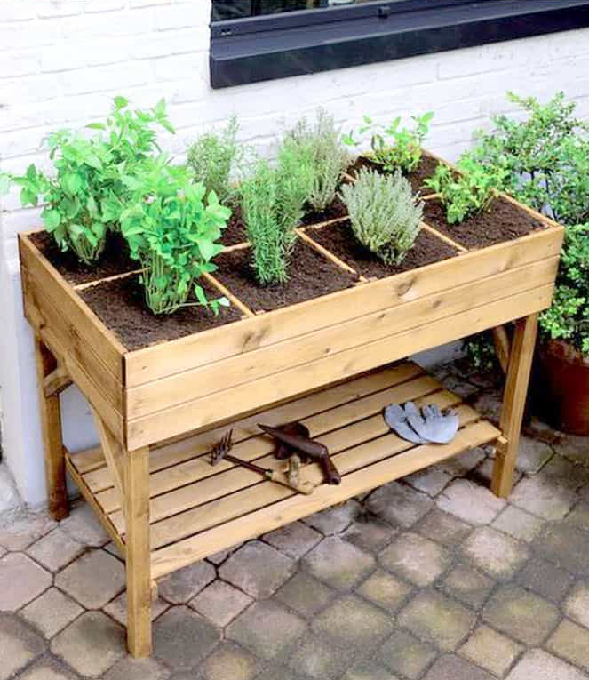 A raised patio planter featured on A Piece of Rainbow