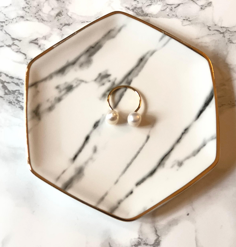 pearl ring and marble jewelry tray